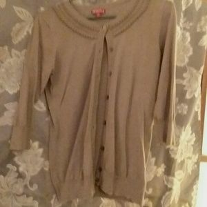 Beige Merona 3/4 sleeve Cardigan w/ beaded detai
